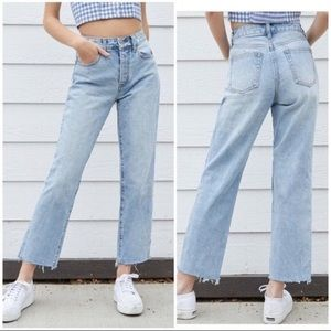Brandy Melville High Rise Raw Hem Mom Jeans